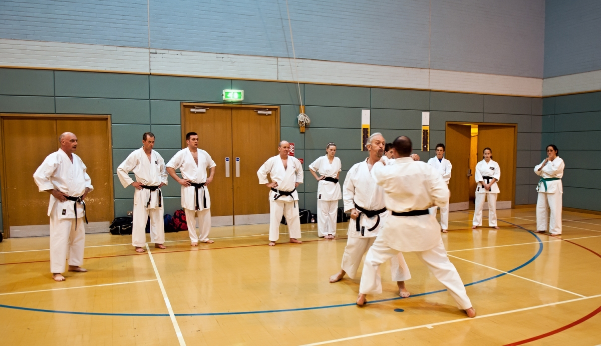 Sensei Davis and Sensei Marshall demonstrating for the class